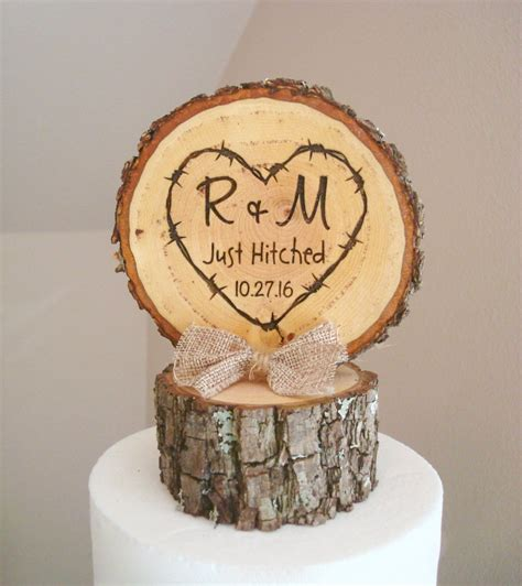 Rustic Wood Wedding Cake Topper Just Hitched Cake Topper