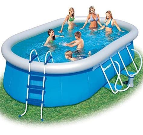 bestway pool oval bestway oval fast set above ground swimming pool blue 16 ft best swimming pool for garden