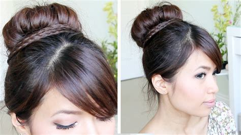 sock bun braid updo hairstyle  medium long hair