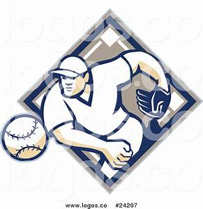 Royalty Free Vector Logo of a Baseball Player Throwing the ...
