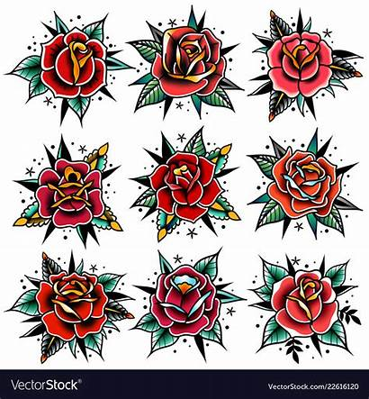 Tattoo Vector Traditional Rose Roses Tattoos Leaves