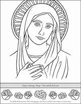 Coloring Crowning Mary Adult Catholic Printable Saint Bible Crafts Thecatholickid Mother Sunday Children Blessed Rose Jesus Drawing Books Tin Craft sketch template