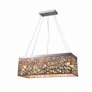 Layla light chrome indoor crystal rectangular pendant