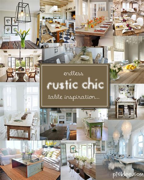 chic decor ideas 14 fabulous rustic chic dining tables inspiration picklee Rustic