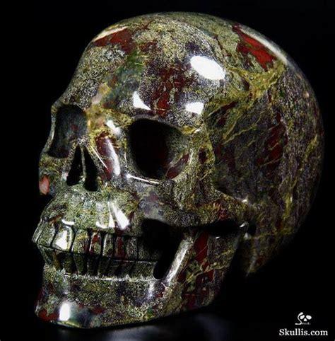 Huge Dragon Blood Jasper Carved Crystal Skull Realistic