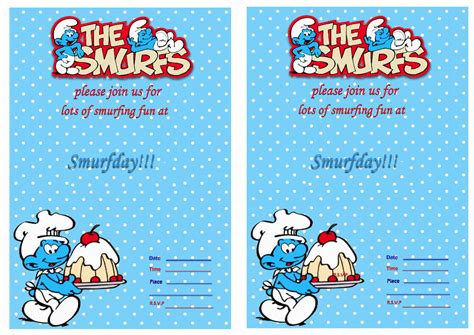 a birthday invitation smurfs birthday invitations birthday printable