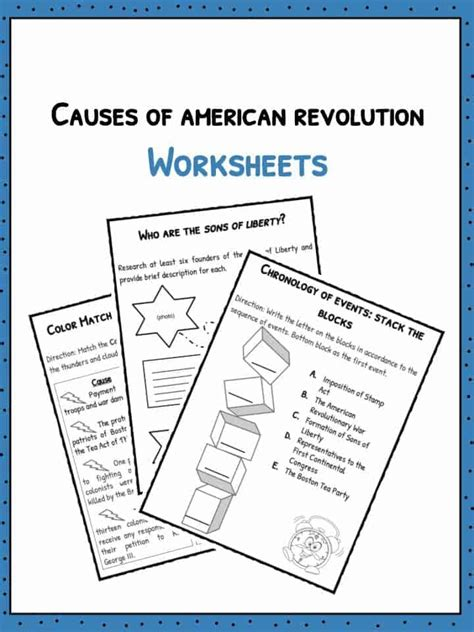 causes of the american revolution facts worksheets for