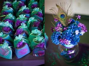 Peacock purple turquoise wedding details centerpieces for Purple and turquoise wedding favors