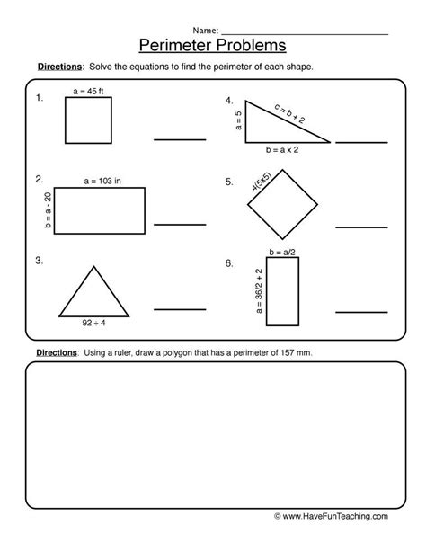 perimeter equation problems worksheet  fun teaching