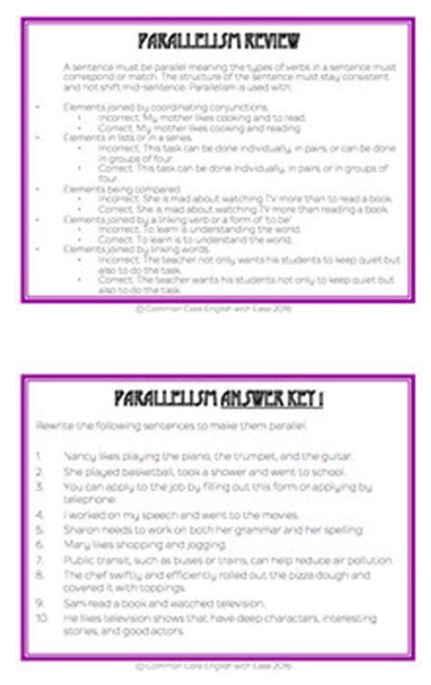 parallel sentence structure grammar worksheets