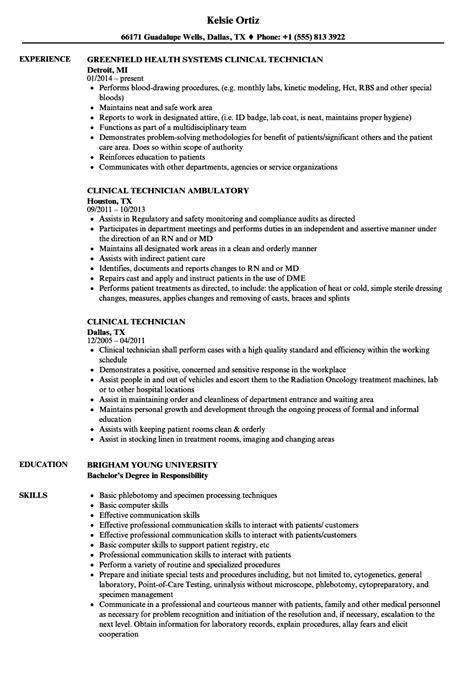 Clinical Resume Exles by Clinical Technician Resume Sles Velvet