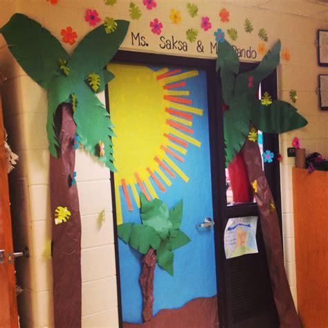 tropical inspired classroom door classroom door