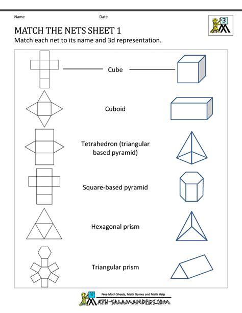 math nets worksheets match  nets  curriculum ideas