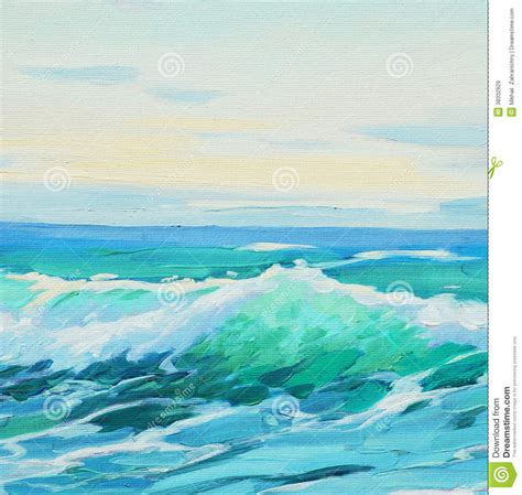 morning  mediterranean sea wave illustration painting