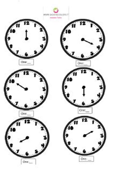 esercizio per imparare a leggere l orologio attivita elementare