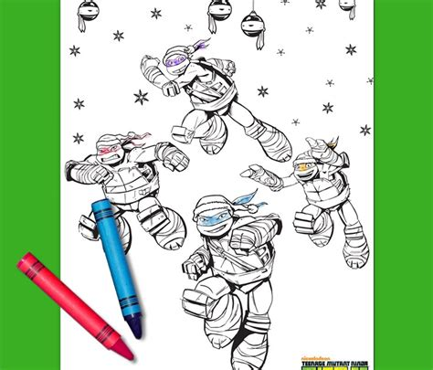 teenage mutant ninja turtles holiday coloring page nickelodeon parents