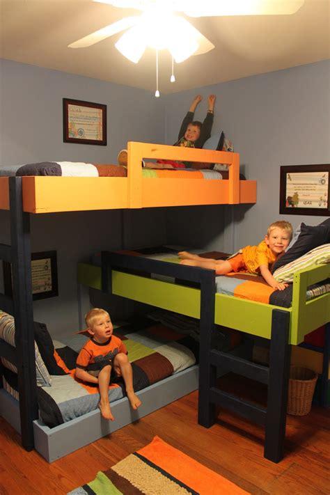 triple bunk beds  hardwood floors