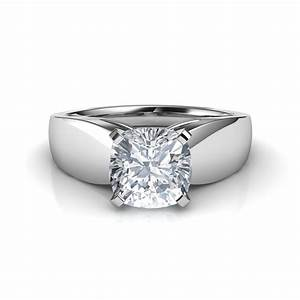 wide band cushion cut solitaire diamond engagement ring With wedding rings with solitaire diamond