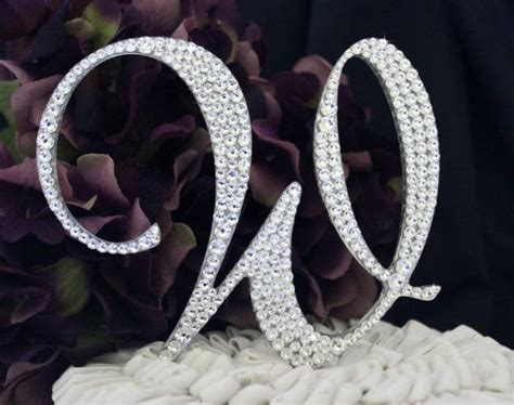 letter cake toppers monogram wedding cake topper decorated with swarovski 22787