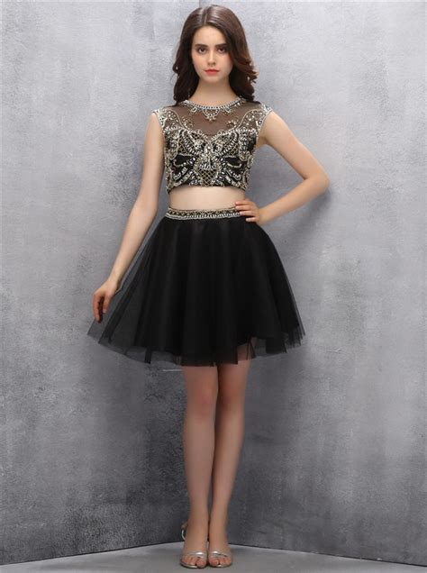 Sexy Two-piece Scoop Short Black Tulle Open Back ...