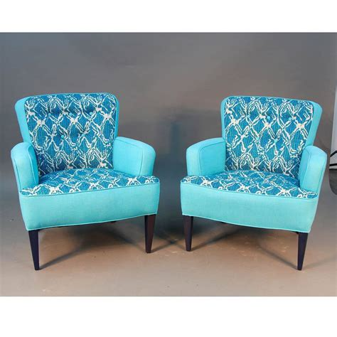 pair of turquoise sala chairs draper era for sale at 1stdibs