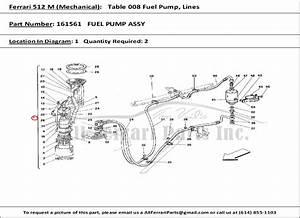 Ferrari Part Number 161561 Fuel Pump Assy