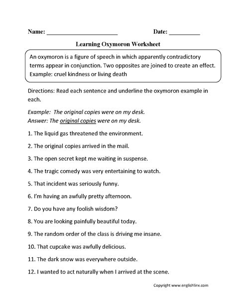 oxymoron figurative language worksheets englishlinx