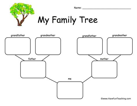 child family tree worksheet    images