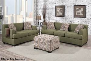 Montreal Green Fabric Sofa And Loveseat Set Steal A Sofa