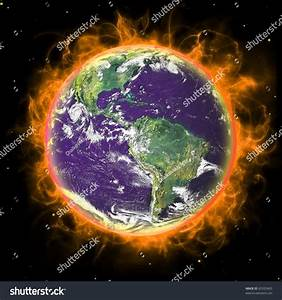 Real Earth Planet Space Red Fire Stock Illustration ...