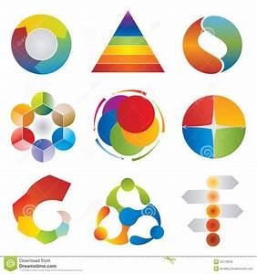 Set Of Chart Diagram Icons - Wheel - Pyramid