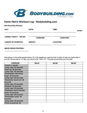 fillable  kevin harts workout log bodybuilding