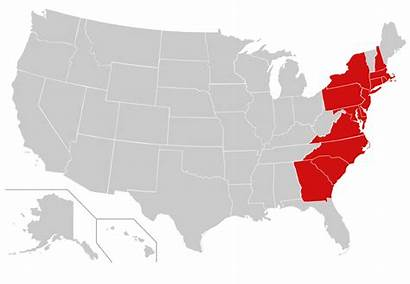 Colonies Thirteen Highlighted States United Svg Map