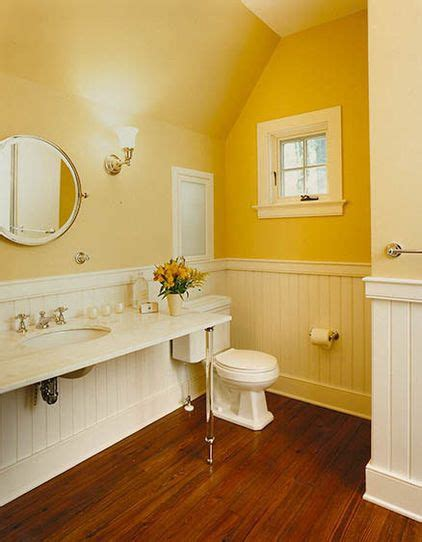 yellow white bathroom  grasscloth wallpaper
