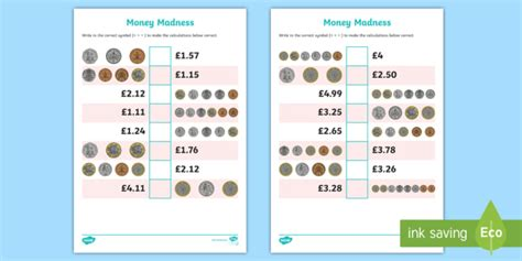 ks2 money madness greater than and less than worksheet