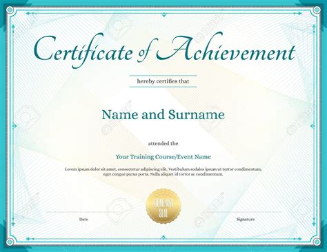 unique certificate  accomplishment template achievement
