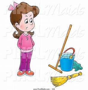 Cleaning Pink Girls Clipart