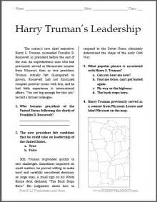 Ged Practice Worksheets Harry Truman 39 S Leadership Reading With Questions