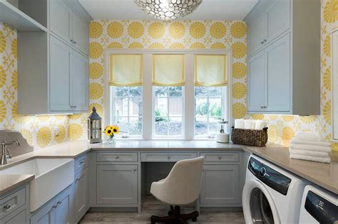yellow  gray laundry room  desk transitional