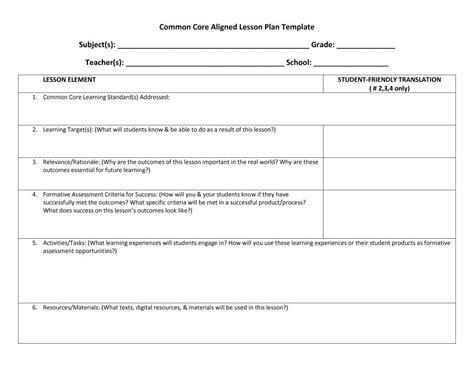 Team Lesson Plan Template Tn Costumepartyrun