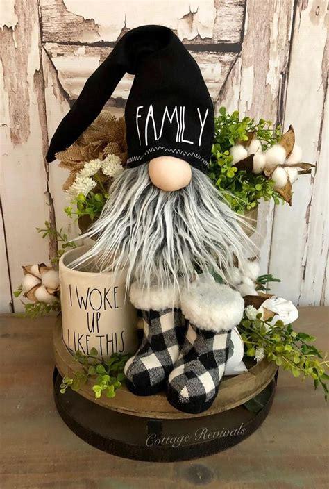 family farmhouse gnome  black hat gnome  gray