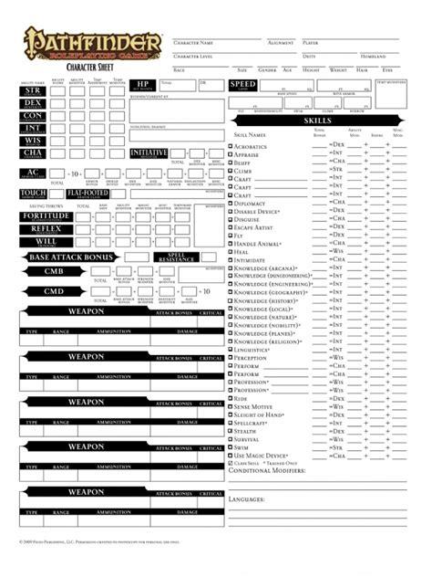 pathfinder templates editable pathfinder character sheet