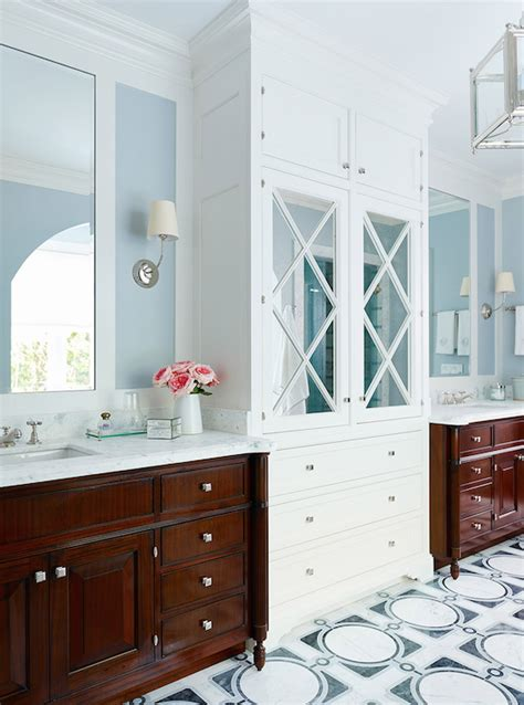 mirrored linen cabinet transitional bathroom andrew