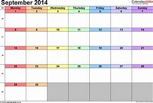 Calendar September 2014 Uk  Bank Holidays  Excel  Pdf  Word