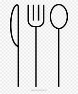 Coloring Silverware Cubiertos Dibujo Transparent Pinpng sketch template