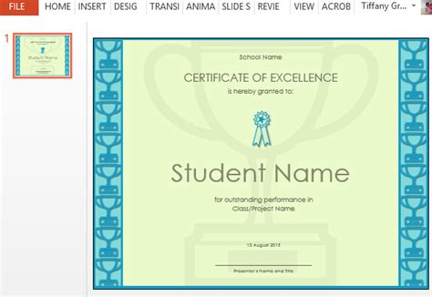 certificate  excellence template  powerpoint