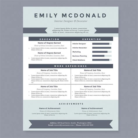 Creative Resumes Templates Word by Sea Blue Resume Template Package Resume Templates On