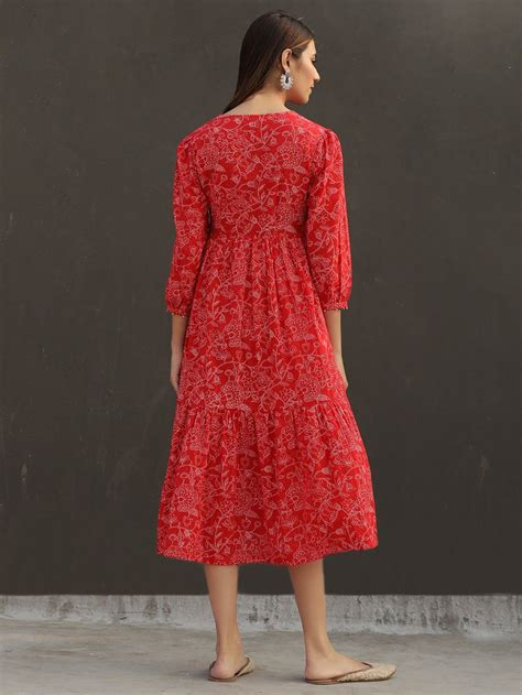 buy red floral printed cotton gathered dress bgnmbg