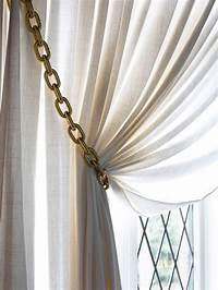 curtain tie back ideas How to Make Gold Chain Curtain Tiebacks | HGTV