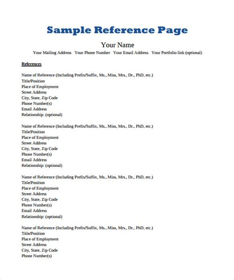 sample reference page template  documents